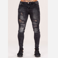 new model jeans pants ripped hip-hop tight fit stylish jeans casual wear for men