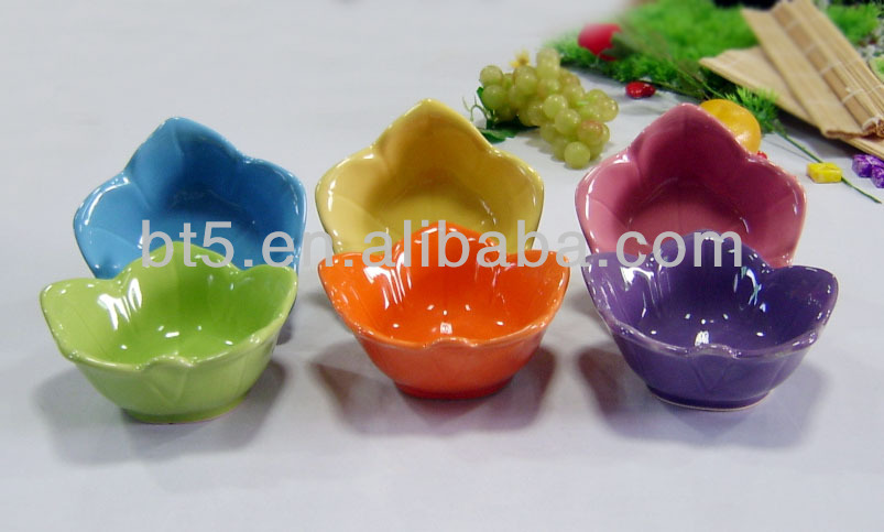 small colorful ceramic flower shaped bowls