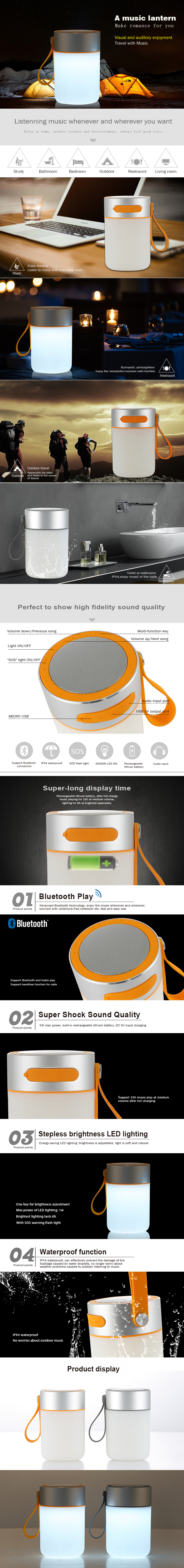 Sport Hiking & camping wireless Bluetooth speaker with SOS flashing light and emergency powerbank