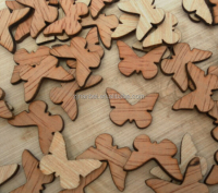 Custom made laser cutting small wooden bauble decoration,wooden Butterfly