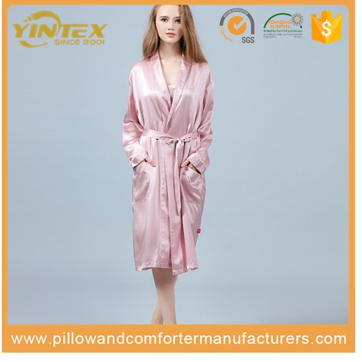 High quality best selling China factory customized silk robe women