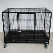 Large dog cage pet dog crates with wheels iron dog crate