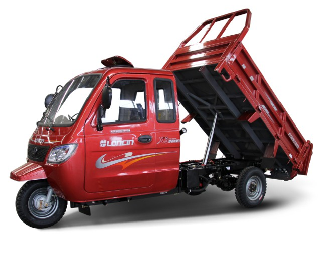 Loncin heavy load 350cc 500cc 600cc 800cc semi closed cargo tricycle with steering wheel/three wheel motorcycle