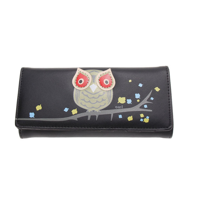 2016 New Fashion Owl Pattern Wallet Women PU Leather Wallets Coin Card Holder Long Purses Girls Lovely Cartoon Wallets
