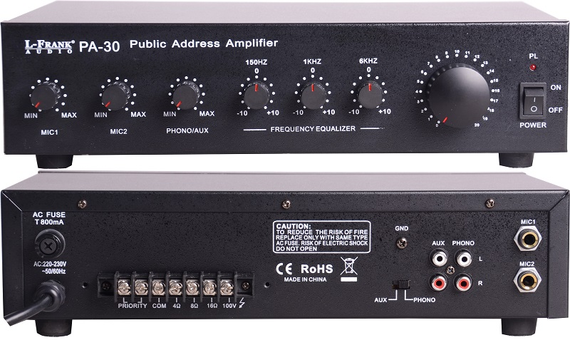 Mini equalizer amplifier,CE ROHS PA-30 30W Public Address Amplifier,Audio Amplifier,30W/60W