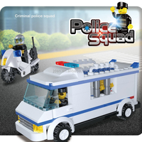 156pcs Imitation Toy Van Model Prison Van Of Police Squad Series Blocks Building Toy