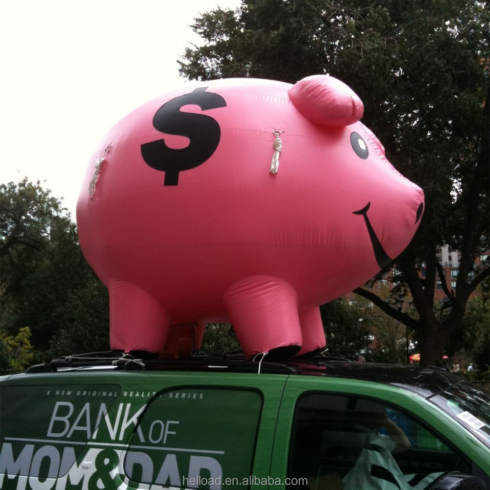 Customized logo printing giant cute inflatable pink pig for event
