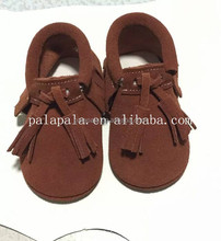 Brown double fringe suede genuine cow leather baby shoes kids moccasins for toddler