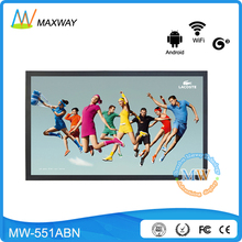 LAN Wifi wireless 3G 4G network programmable 55 inch android LCD media player TV