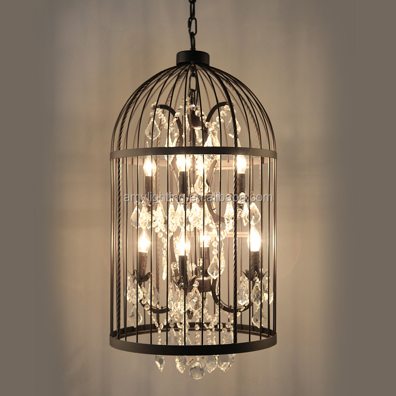 retro led birdcage iron dining villa chandelier crystal. Black Bedroom Furniture Sets. Home Design Ideas