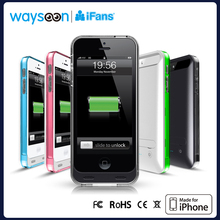 battery case for ipad mini External Battery Backup Charger Case for iPhone 5 5s with coloful frames clear Audio connector