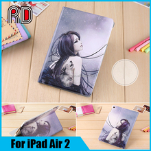 High Quality 360 Degree Rotating Stand Leather Case Smart Cover for iPad Air 2 iPad 6 With Automatic Wake Up Sleep Function