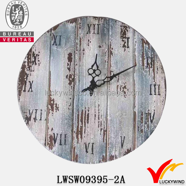 Distressed Round Wooden Antique Wall Clock