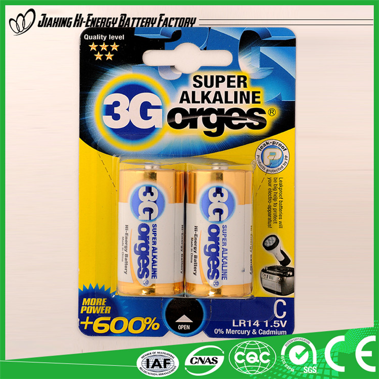 High Performance Efficient Energy Lr14 C Um2 1.5V Alkaline Battery