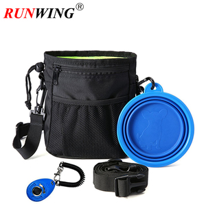 Dog Treat Training Pouch Bag Including Adjustable Waist Belt and Shoulder Strap, Food Water Bowl and Training Clicker with Hook