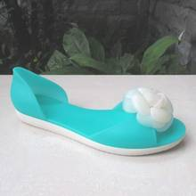 Colorful Candy Color Flower PVC Jelly Peep Toe Shoes for Ladies