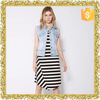 Elastic leisure raised stripe knit skirt