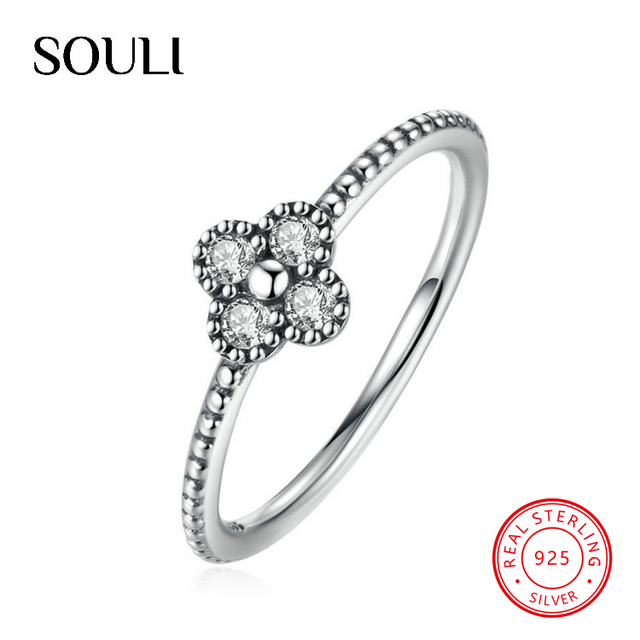 Vintage Four Leaf Clover Rings S925 Sterling Silver Diamond Finger Ring for Women