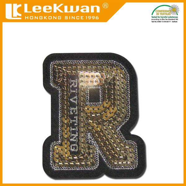 letter R patch sequin appliques patches