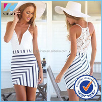 Trade Assurance Yihao Summer Sexy Slim White Lace Stitching Stripe Harness Dresses Dress 2015