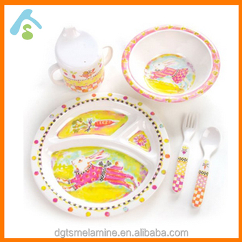 5 piece BPA free melamine tableware set for kids