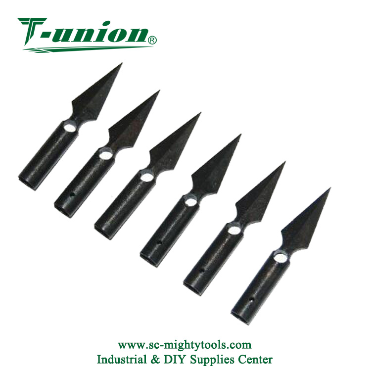 Traditional Hunting Broadheads for Bamboo Wooden Arrows One Hole Arrow Heads Glued on Field Points