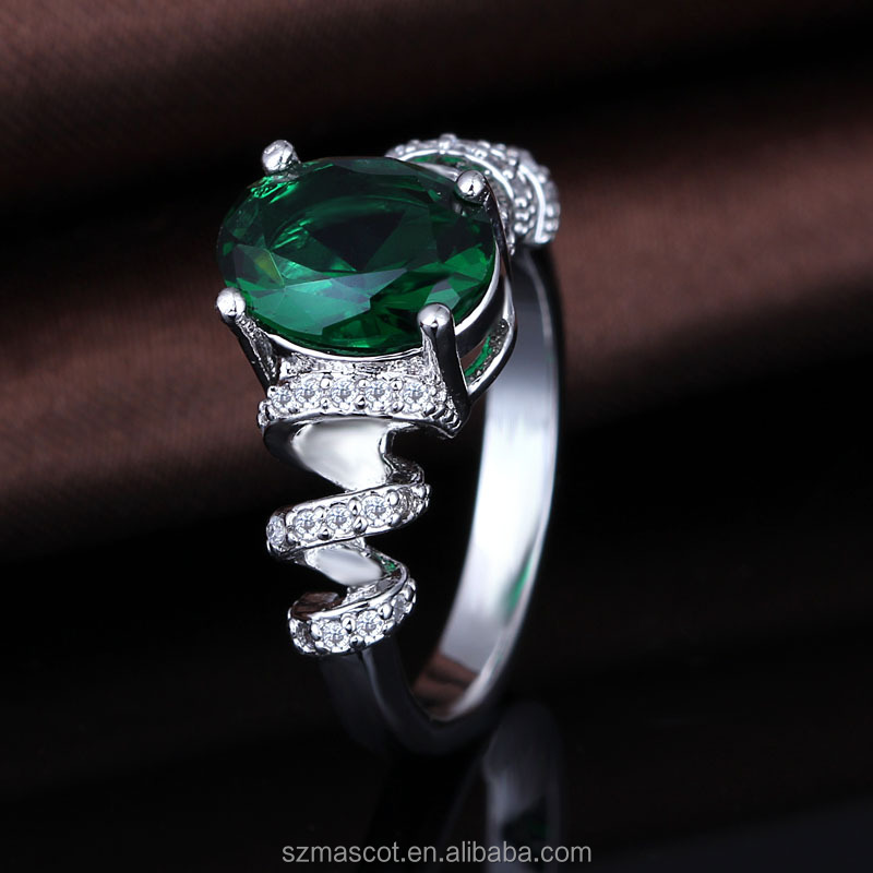 Unique Spiral 925 Sterling Silver Oval Green Stone Engagement Ring