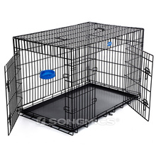 Unique cage slant front collapsible foldable zinc plated wire dog crate