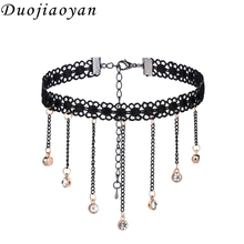 Hotsale Women Girls Black Lace Sparkling Choker Necklace With Crystal Pendant Lace Jewelry