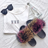 Fashion Girls 2017 Colorful Fur Sandals