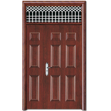 HS-1873 commercial exterior metal french steel glass security door with decorative aluminum strips insert