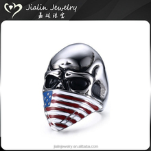 American Flag Infidel Skull Biker Ring Stainless Steel Jewelry Cheap
