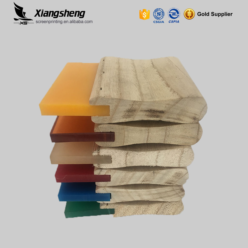 Silkscreen wooden handle urethane squeegee rubber blade