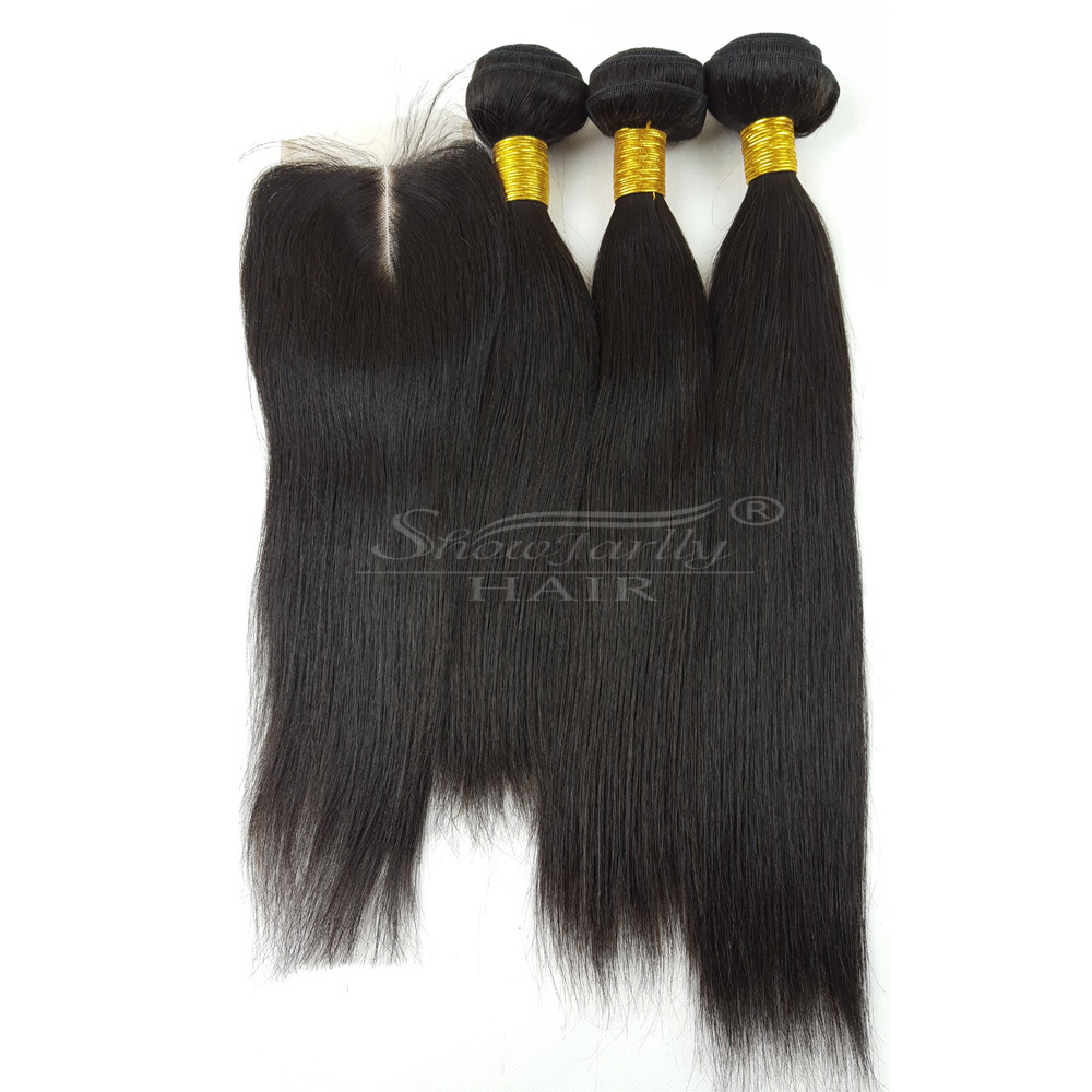 Virgin hair piece invisible part closure with bundles brazilian straight virgin human hair weave cuticle aligned hair closure