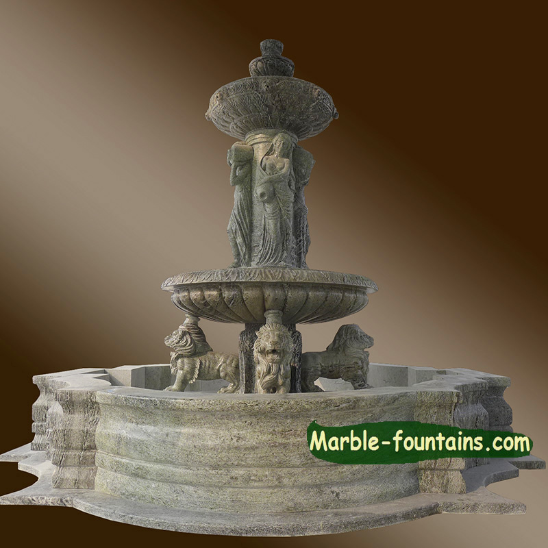 marble lion women dancing outdoor garden marble stone fountains