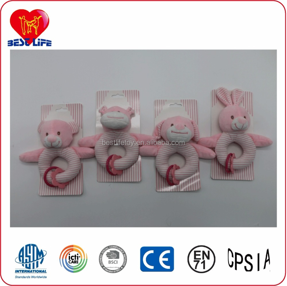 China OEM Custom Hand Bells Plush Animal Shaped Soft Baby Rattle/Handkerchief/Gutta-percha Toy Set for baby