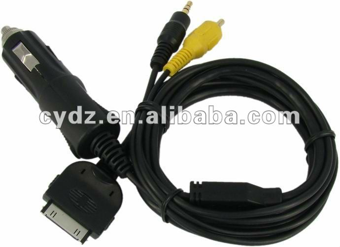 3.5MM 5V video car charging cable for IPOD/IPHONE and all car acoustics