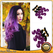 HOT Sale brazilian hair weaves 3 Pcs 1B Grey hair bundles Two Tone Ombre purple human hair weave