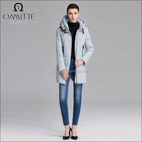Filling Material Customized European Fashion Winter Coats Mid Thigh Length Women Slim Down Coat