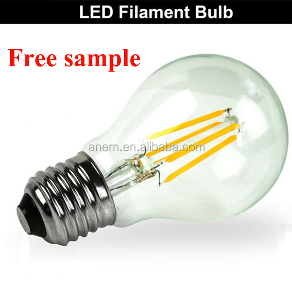 Hot led lamp parts product 100lm/w 2w 4w 6w glass led filament bulb