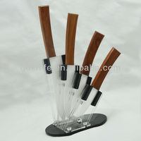 High quality wooden handle porcelain kitchen knife,ceramic knife
