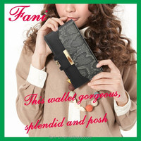 Gorgeous style with metal clip and snap design clutch leather purse for women/ladies/girls