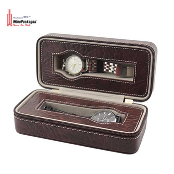 Wholesale orient custom logo design your own branded black PU leather packing watch box with pillow watch box display
