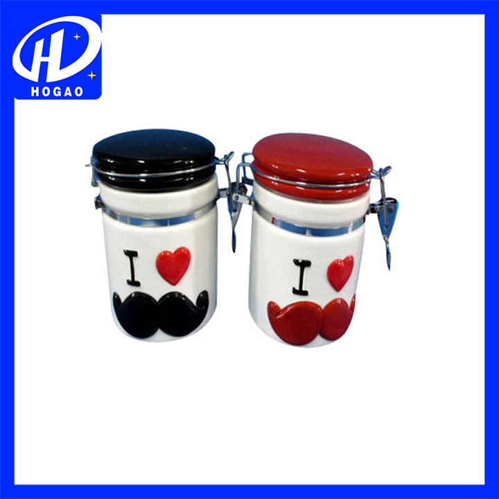 Hot sale I LOVE YOU can inside biscuit funny cookie jar for christmas decoration