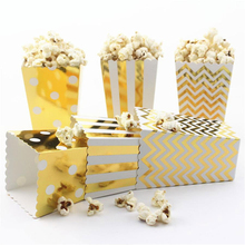Premium Quality Food grade Packaging party favorGold Stamping paper popCorn boxes Great for movie night or movie party theme