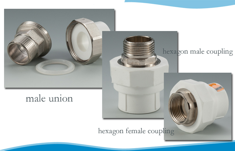 High quality Berlyplast white hexagon male ppr pipe fitting