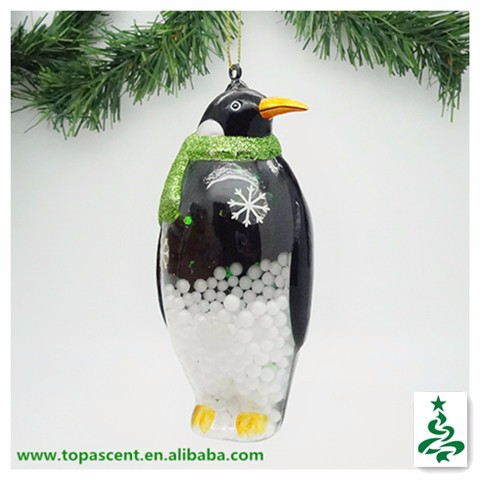 traditional handblown hanging glass wild animal christmas ornaments from direct factory - penguin looking to right side