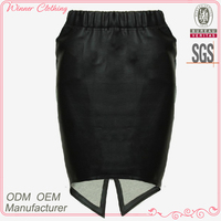 New design women fashion tight elastic waist asymmetrical pure black short skirt in leather