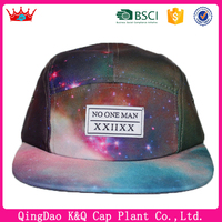 Hot ~2016 New arriveal galaxy hpanel cap with design your own 5panel hat cap panting and embroidery plain 5 panel cap