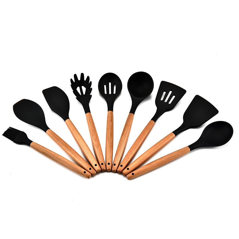 wholesale Amazon hot sale 9 pc wooden handle FDA Kitchen Supplies silicone cooking utensils <strong>sets</strong>